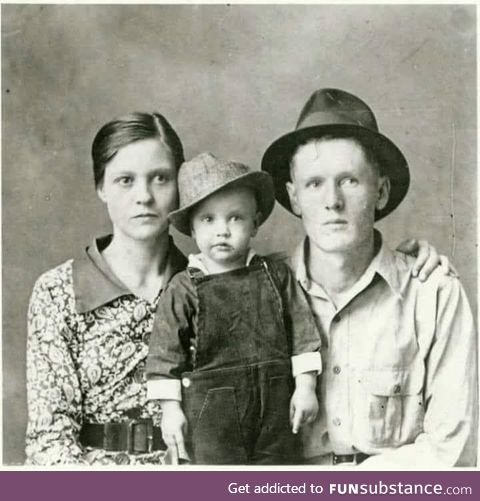 Gladys Presley with her son Elvis and Husband Vernon Presley!
