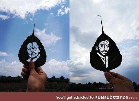 Leaf art of 2 recently deceased Indian actors