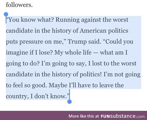 Things not to say before losing an election