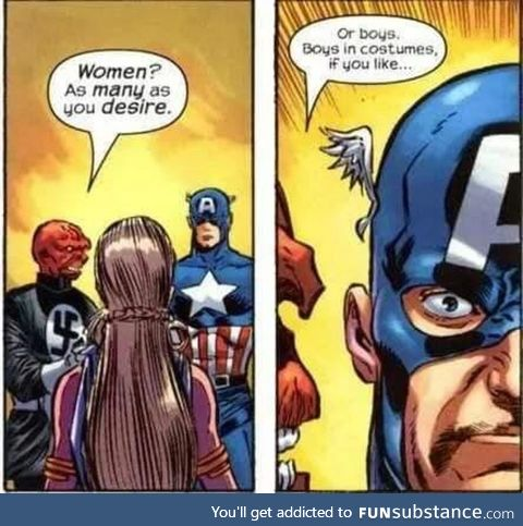 What is Cap's face conveying?