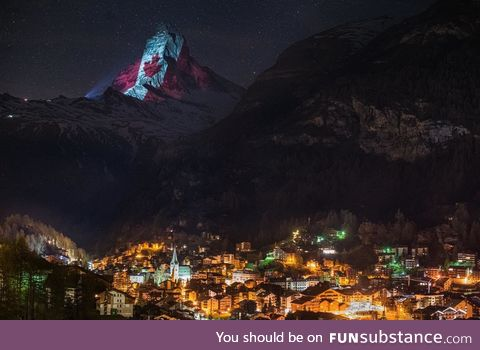 Switzerland lit up the Matterhorn in attempt to provide hope to Canadians