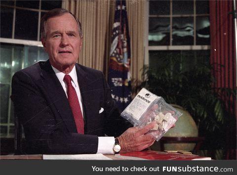 President Bush posing with a bag of crack, circa 1985