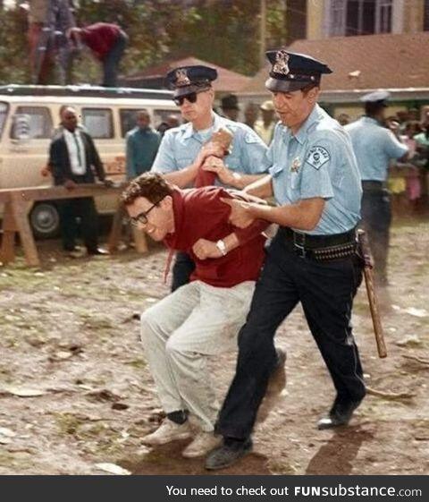 Bernie Sanders getting arrested for protesting against segregation in 1963