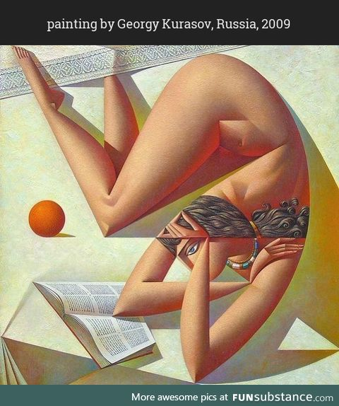 """Post-Soviet visual. """"Girl with a book and an orange"""""""