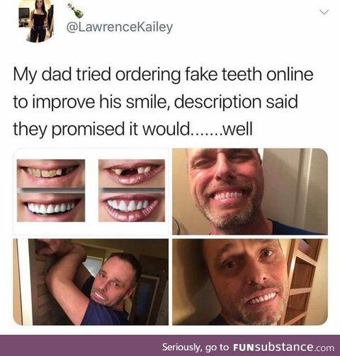 Hide the Pain Harolds teeth?