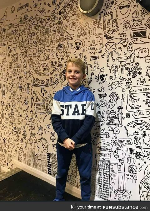 This 9 year old is hired to decorate a restaurant with his doodles