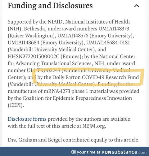 Dolly Parton helped fund the Moderna COVID-19 Vaccine, FYI