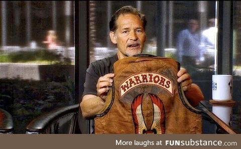 James Remar and his 1979 original The Warriors jacket. (The last one in existence)