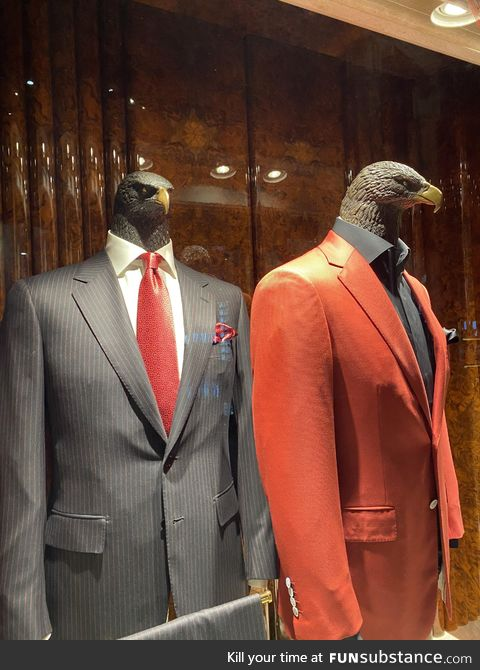 This stores emblem/mascot is an eagle, and so are the mannequins