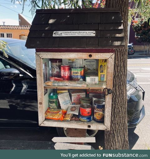 The little-free-library on our block was out of books so we turned it into a community