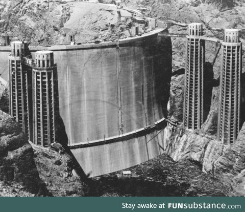 The backside of the Hoover dam