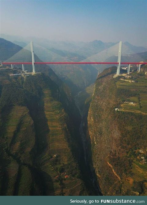 Duge Bridge is a cable-stayed bridge near Liupanshui in China. Highest in the world with