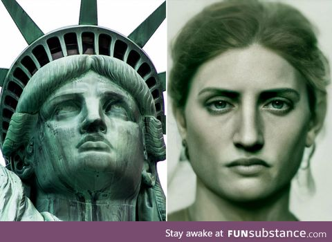 """An AI based interpretation of what """"Lady Liberty"""" would have looked like if she was a"""