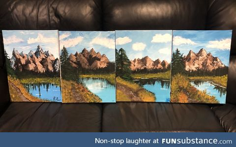 First family Bob Ross paint night during quarantine. It was so much fun!!
