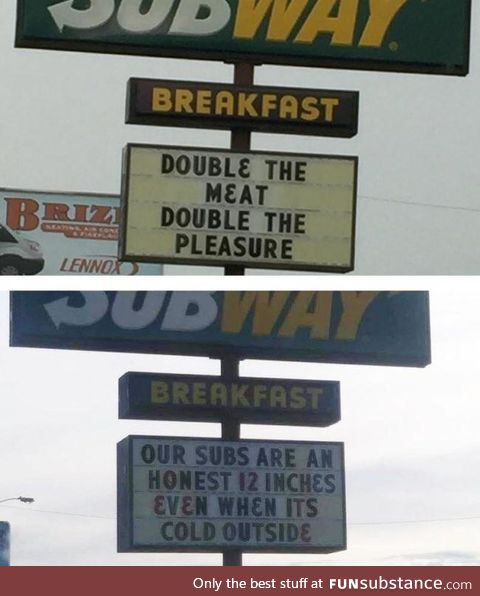 Subway's sign guy wasn't paid enough