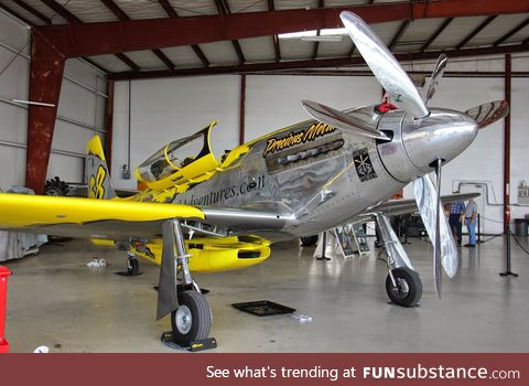 """""""Precious Metal"""" a P-51 Mustang fitted with a V12 Rolls-Royce Griffon and two propellers"""