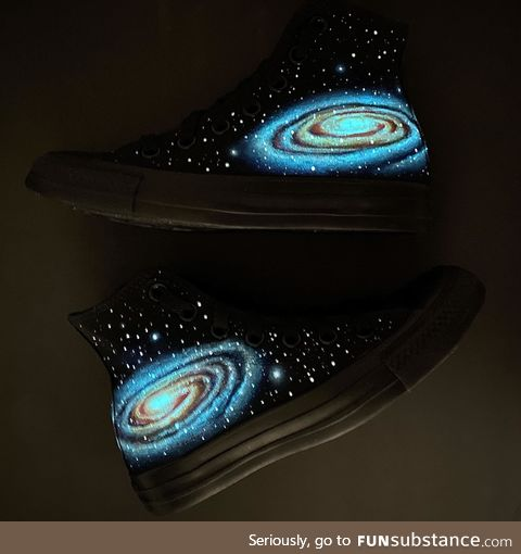 Glow in the dark hand painted galaxy converse, OC
