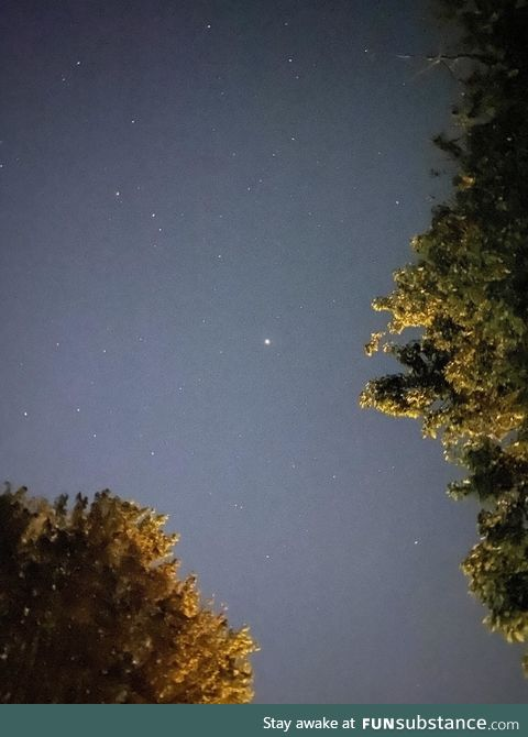 Mars at opposition. The brightest it will be until 2052. Look east from where the sun set