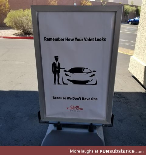 A sign outside a off strip casino in Las Vegas...Talk about pulling a Ferris