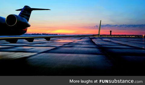 Happiness is working with the hangar doors open