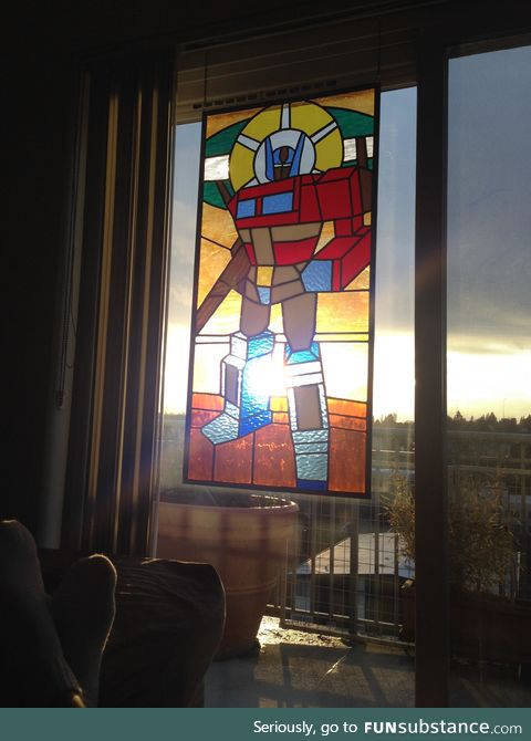 Optimus prime stained glass art