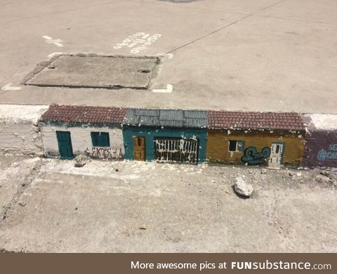 Tiny homes on a public sidewalk