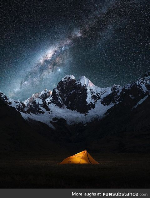 Beautiful Milky way above Andes Mountains, Peru!