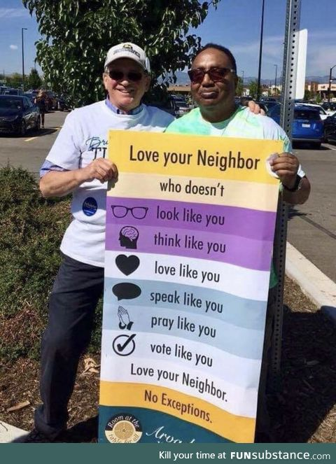 Love your neighbor, a sign from the Arvada United Methodist Church