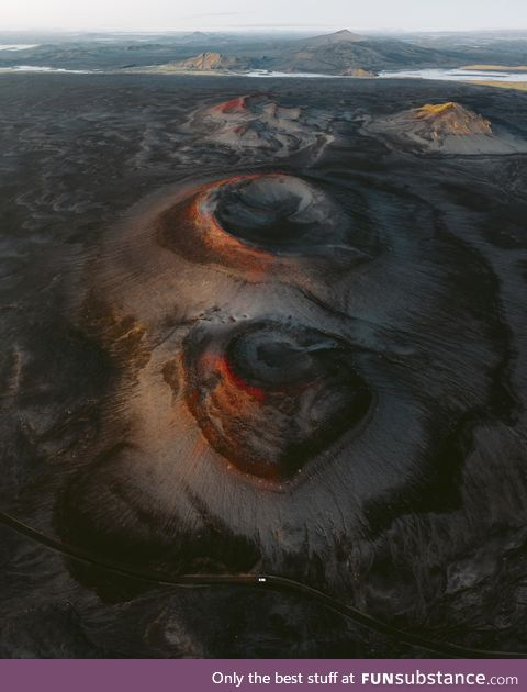 Drone view of volcanic craters in the Icelandic Highlands looks like another planet