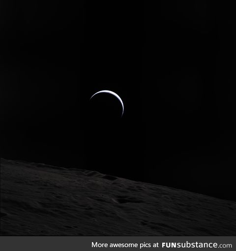 A crescent Earth seen from the Moon