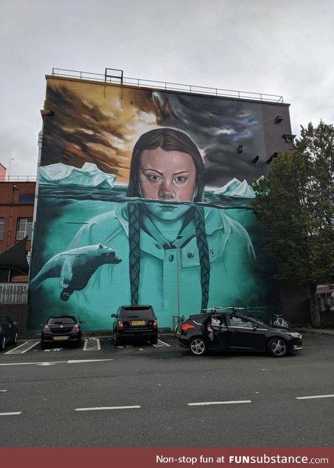 Massive mural of Greta Thunberg painted in Bristol, England. At 15 meters (≈ 49 feet)