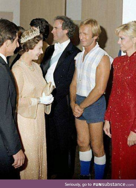 Crocodile Dundy meeting the Queen, circa 1985