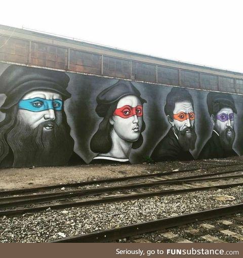 Ninja Turtles painted as their namesakes in Brooklyn, NY