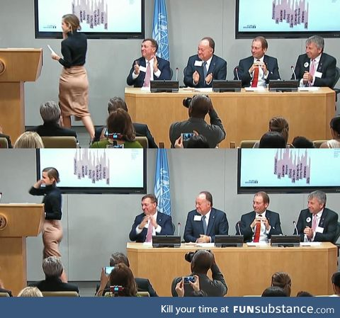 Every guy checking out Emma Watson's butt at a UN meeting