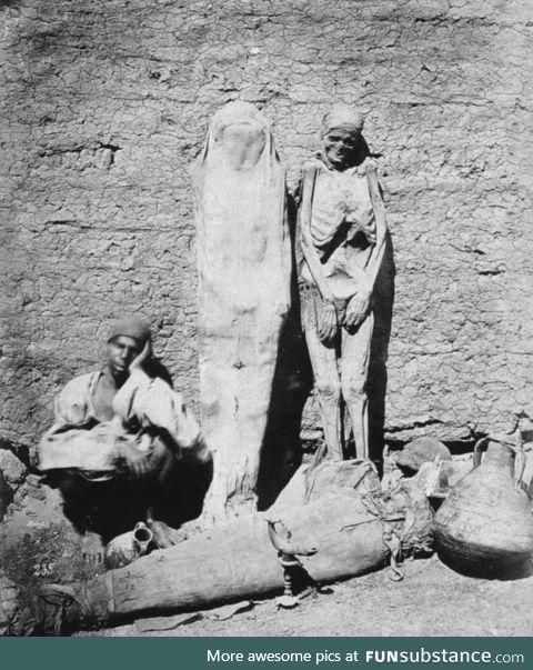 A street vendor selling mummies in Egypt, c.1865
