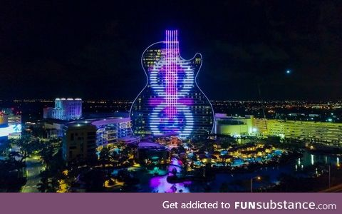 Not an 80s pop album cover or a Photoshop but the first guitar-shaped hotel in the world