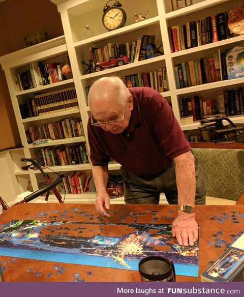 He'll be 101 in July and that's a 1000 piece puzzle