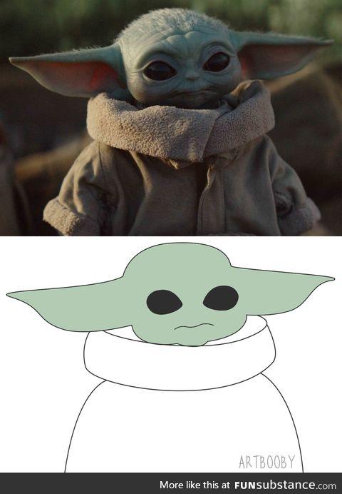 My fan art. Minimal style. The Mandalorian. Baby Yoda. I did my best!
