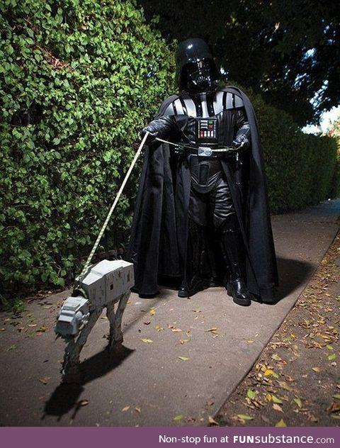 Darth Vader Walking AT-AT at Night