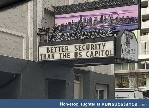 Strip club in Vancouver sign following the Storming of the US Capital