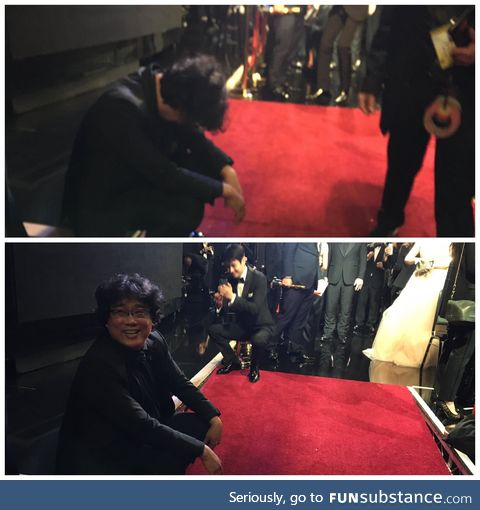 Bong Joon Ho backstage after Parasite won Best Picture at the Oscars