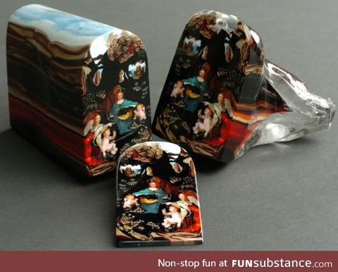 Hundreds of glass rods melted together then sliced to show a portrait