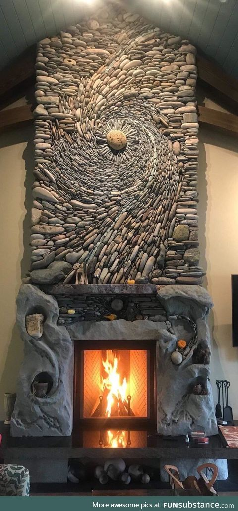 The incredible masonry of this fireplace