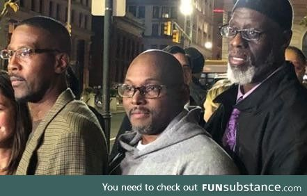 Alfred Chestnut, Ransom Watkins and Andrew Stewart walk out of the Baltimore city
