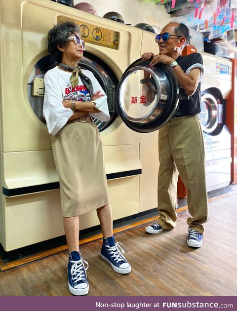 83 & 84-year-old couple model clothes forgotten at their laundry shop in Taiwan