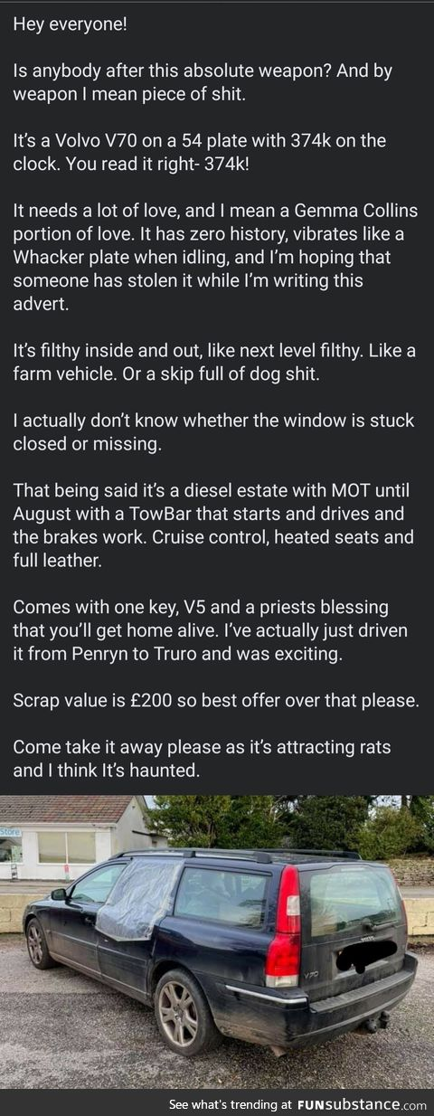 This person selling a car