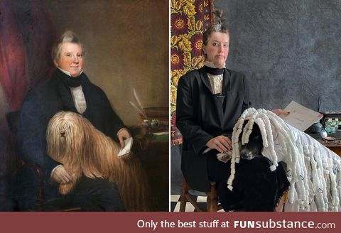 This is Finn, the Australian Shepherd & we recreate famous artworks together every