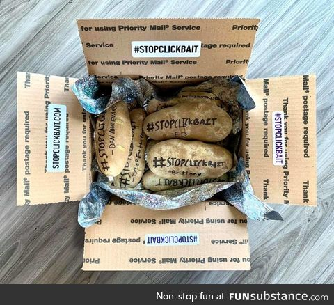 """The Facebook page """"Stop Clickbait"""" started shipping potatoes to BuzzFeed in retaliation"""