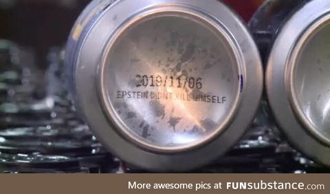 "Brewery prints ""Epstein didn't kill himself"" on the bottom of beer cans"