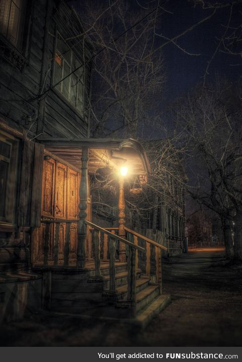 Night street in russian city looks like location in some game